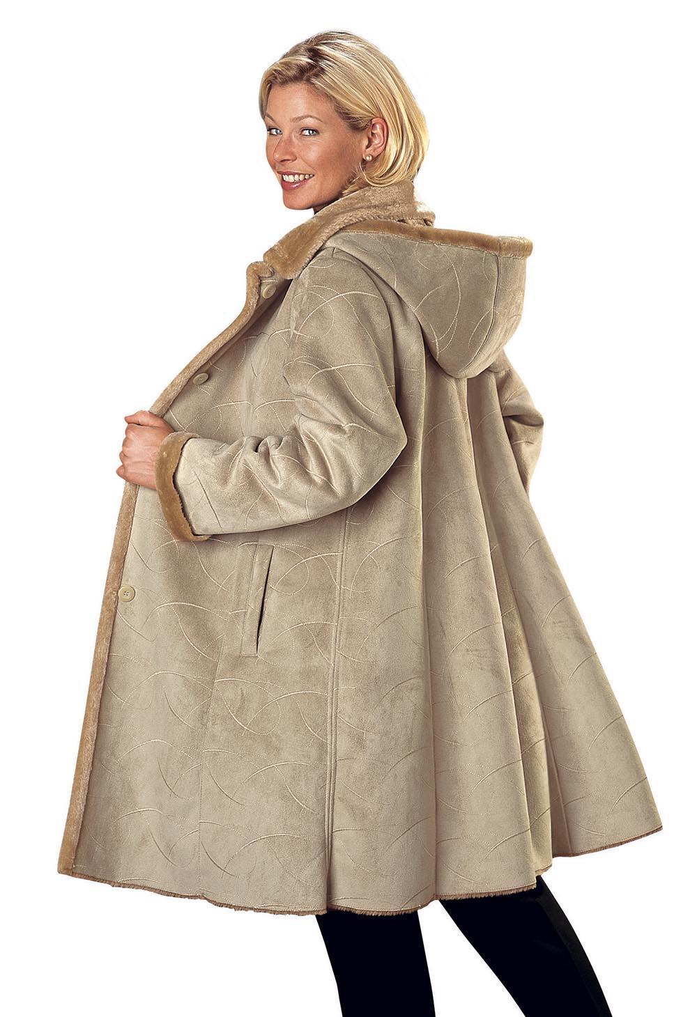 Manteau imitation peau noir femme