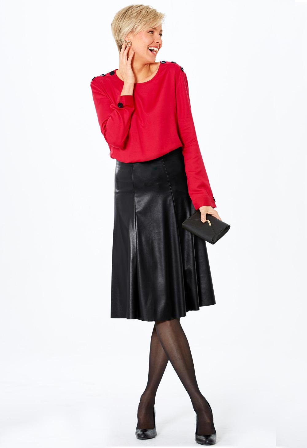 grand choix de ee940 10915 Jupe effet cuir et pull fantaisie, sublime en rouge et noir !