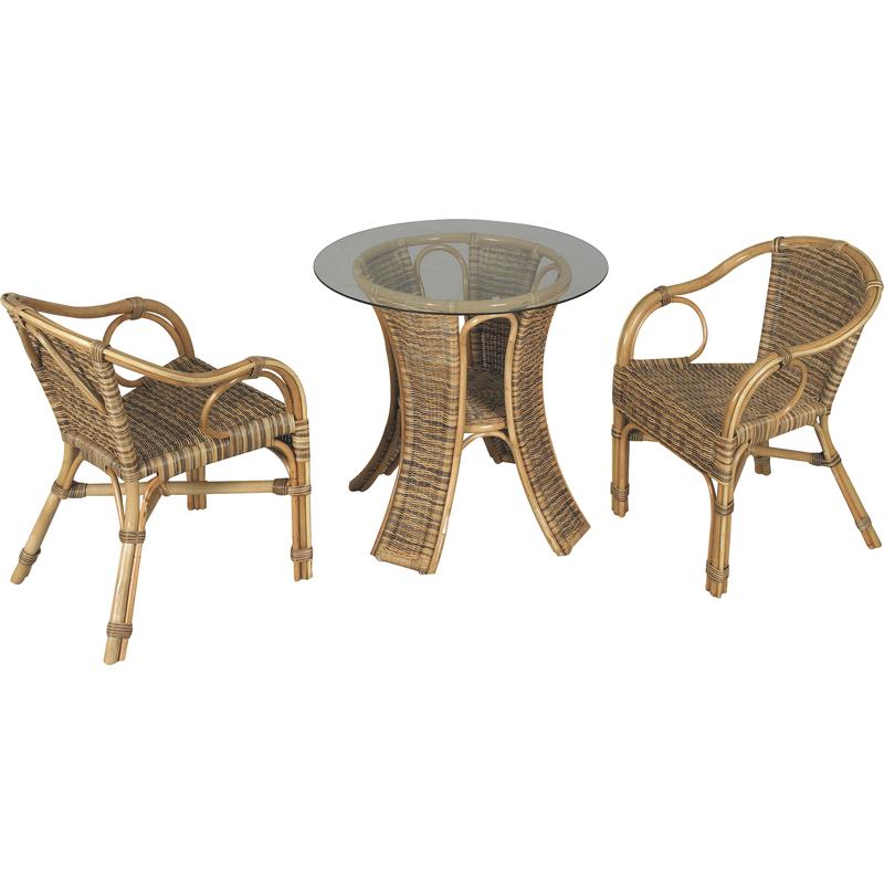 Salon de jardin 1 table ronde plateau verre 2 fauteuils en rotin Table salon de jardin ronde