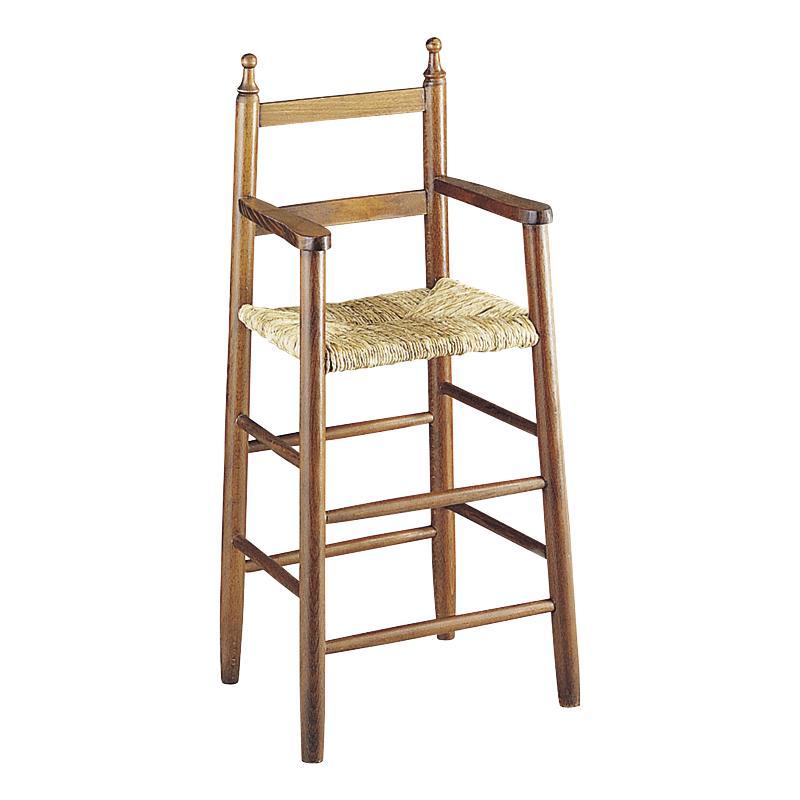 Chaise haute pour enfant en bois marron for Chaise haute en bois pour bebe