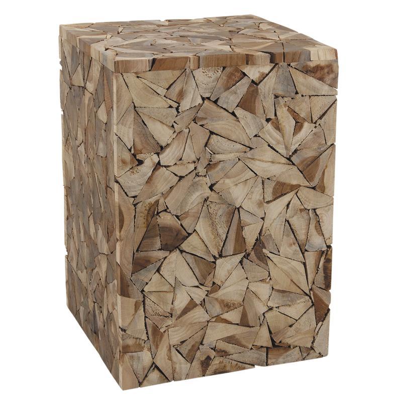 tabouret cube en bois recycl. Black Bedroom Furniture Sets. Home Design Ideas
