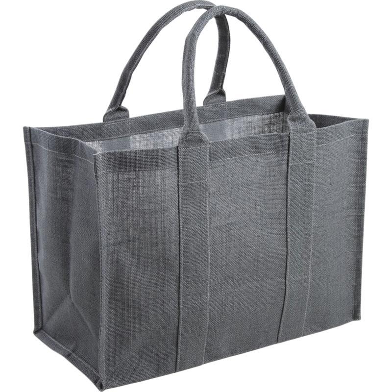 sac cabas de course en jute plastifi e gris. Black Bedroom Furniture Sets. Home Design Ideas