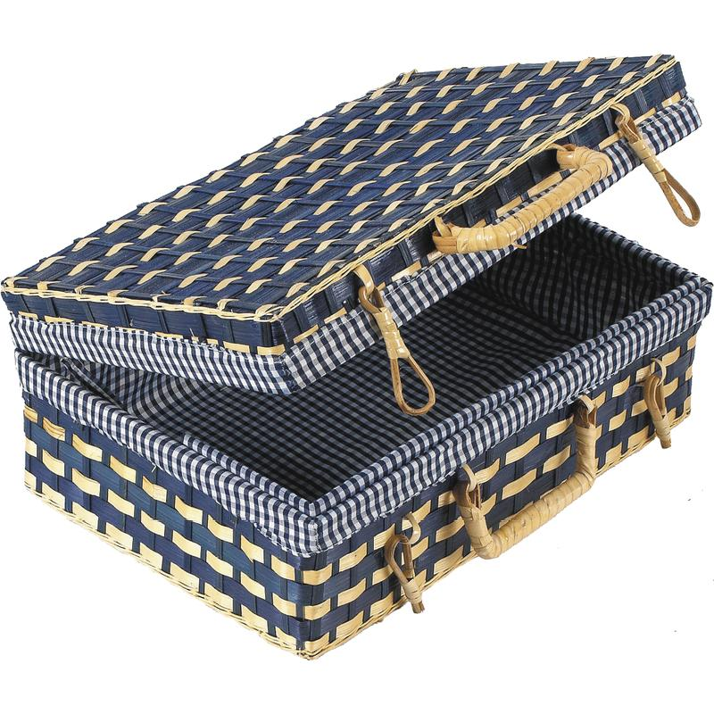 coffret valise de rangement en bambou doublure vichy bleu. Black Bedroom Furniture Sets. Home Design Ideas
